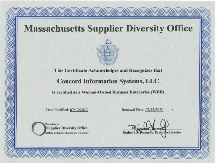 Concord Information Systems Woman Business Enterprise Certificate